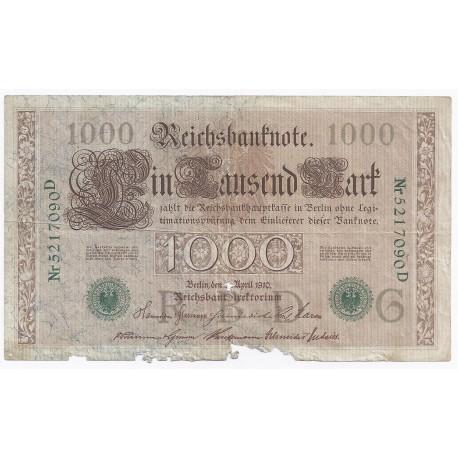 ALLEMAGNE - PICK 45 b - 1000 MARK - 21/4/1910