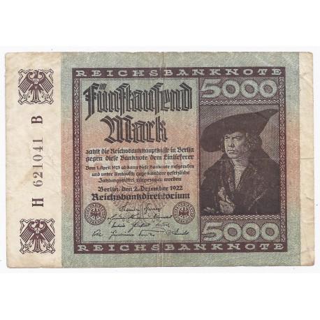 ALLEMAGNE - PICK 81 - 5000 MARK - 02/12/1922