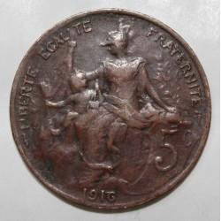 GADOURY 165 - 5 CENTIMES 1916 TYPE DUPUIS - KM 842