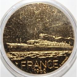 BATEAU - MEDAILLE COMMEMORANT LE FRANCE - 1962 - BRONZE FLORENTIN