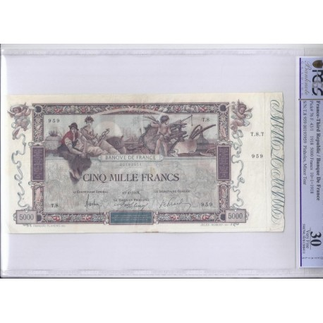 FAY 43/01 - 5000 FRANCS FLAMENG - 10/01/1918 - TB - VF30 - PICK 76