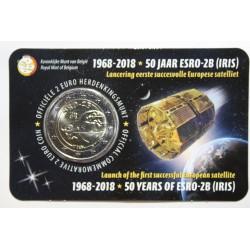 BELGIQUE - 2 EURO 2018 - 50ème Anniversaire du satellite ESBRO-2B - Plaquette