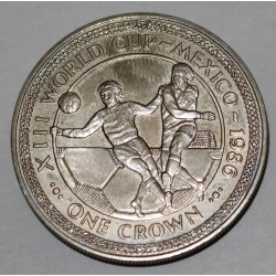ISLE OF MAN - KM 162 - 1 CROWN 1986 - XIII WORLD CUP MEXICO