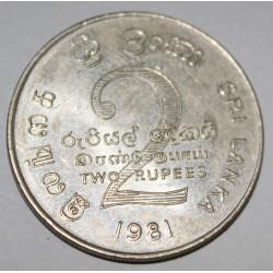 SRI LANKA - KM 145 - 2 RUPIES 1981 - Mahaweli's Deich