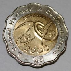 SINGAPOUR - KM 171 - 5 DOLLARS 2000 - MILLENAIRE