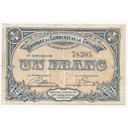 23 - CREUSE - CHAMBRE DE COMMERCE - 1 FRANC - 15/06/1917