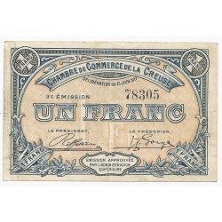 COUNTY 23 - CREUSE - CHAMBER OF COMMERCE - 1 FRANC - 15/06/1917