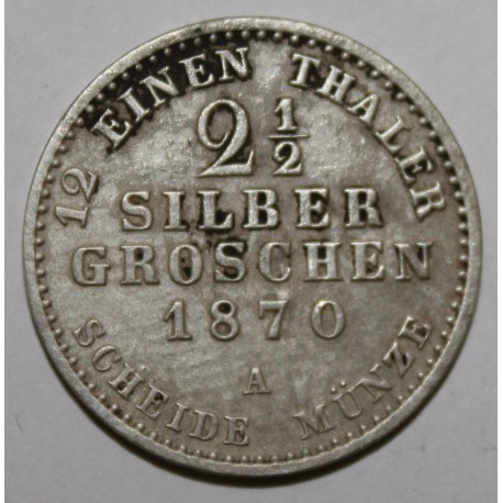 ALLEMAGNE - KM 486 - 2.5 SILBER GROSCHEN - 1870 A
