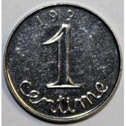GADOURY 91 - 1 CENTIME 1991 TYPE EPI - FM - COIN PARTIELLEMENT BOUCHE SUR LE 1 DE 91 - KM 928