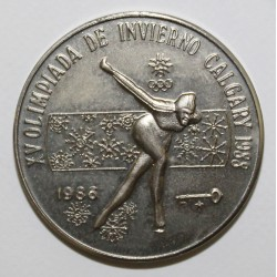 CUBA - KM 138 - 1 PESO 1986 - JEUX OLYMPIQUES D'HIVER 1988 A CALGARY