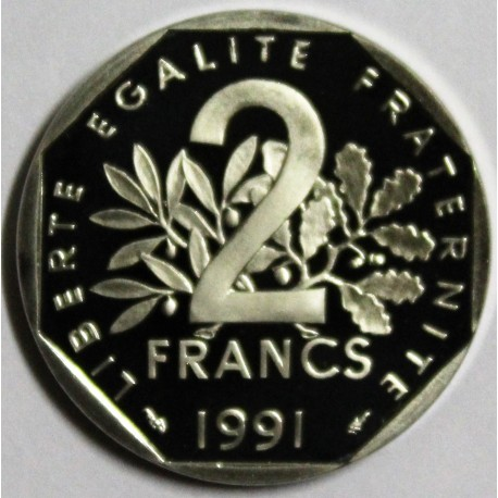 FRANCE - KM 942.2 - 2 FRANCS 1991 TYPE SOWER - MEDAL STRIKE