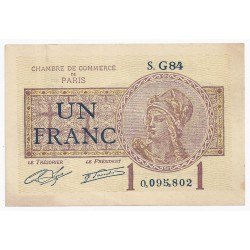 COUNTY 75 - PARIS - CHAMBER OF COMMERCE - 1 FRANC 1919