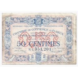 COUNTY 27 - EVREUX - CHAMBER OF COMMERCE - 50 CENTIMES - 28/10/1920