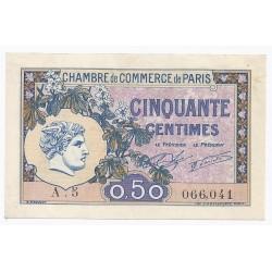 75 - PARIS - CHAMBRE DE COMMERCE - 50 CENTIMES - 10/03/1920