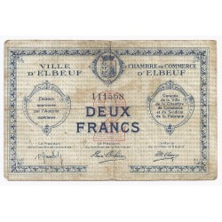 COUNTY 76 - ELBEUF - CHAMBER OF COMMERCE - 2 FRANCS