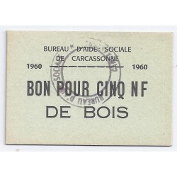 COUNTY 11 - CARCASSONNE - VOUCHER FOR FIVE NF OF WOOD - 1960