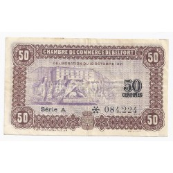 COUNTY 90 - BELFORT - CHAMBER OF COMMERCE - 50 CENTIMES - 12/10/1921