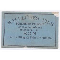 11 - CARCASSONNE - BON POUR 2 KG DE PAIN - TEULIERES ET FILS - BOULANGER PATISSIER