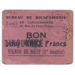 11 - CARCASSONNE - BON DE BIENFAISANCE - 5 FRANCS - 1945/1948