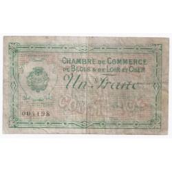 COUNTY 41 - BLOIS ET LOIR-ET-CHER - CHAMBER OF COMMERCE - 1 FRANC - 03/10/1916