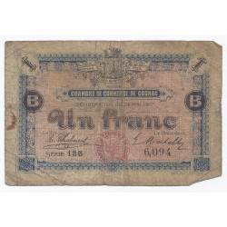 16 - COGNAC - CHAMBRE DE COMMERCE - 1 FRANC - 24/05/1917