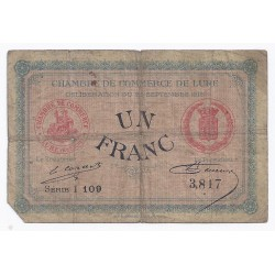 COUNTY 70 - LURE - CHAMBER OF COMMERCE - 1 FRANC - 25/09/1915
