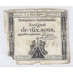 ASSIGNAT DE 10 SOUS - SERIE 495 - 24/10/1792 - DOMAINES NATIONAUX