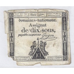 ASSIGNAT OF 10 SOUS - SERIE 495 - 24/10/1792 - NATIONAL DOMAINS