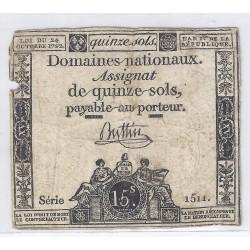 ASSIGNAT OF 15 SOLS - SERIE 1514 - 24/10/1792