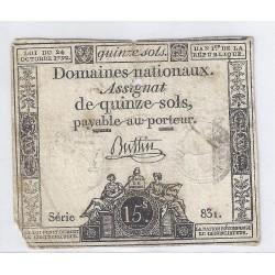 ASSIGNAT OF 15 SOLS - SERIE 192 - 04/01/1792