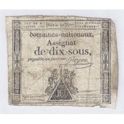 ASSIGNAT DE 10 SOUS - SERIE 1036 - 04/01/1792 - DOMAINES NATIONAUX