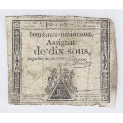 ASSIGNAT OF 10 SOUS - SERIE 1036 - 04/01/1792 - NATIONAL DOMAINS