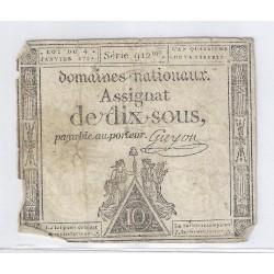 ASSIGNAT DE 10 SOUS - SERIE 912 - 04/01/1792 - DOMAINES NATIONAUX