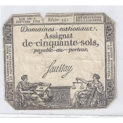 ASSIGNAT DE 50 SOLS - SERIE 142 - 04/01/1792 - DOMAINES NATIONAUX