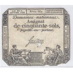 ASSIGNAT DE 50 SOLS - SERIE 661 - 04/01/1792 - DOMAINES NATIONAUX