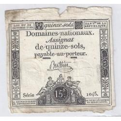 ASSIGNAT OF 15 SOLS - SERIE 1045 - 24/10/1792