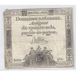 ASSIGNAT OF 15 SOLS - SERIE 962 - 24/10/1792
