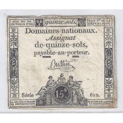 ASSIGNAT DE 15 SOLS - SERIE 612 - 24/10/1792