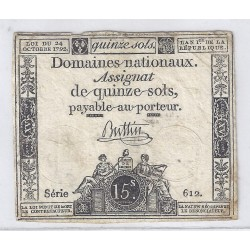 ASSIGNAT OF 15 SOLS - SERIE 612 - 24/10/1792