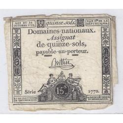 ASSIGNAT DE 15 SOLS - SERIE 1772 - 24/10/1792