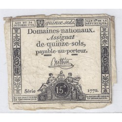 ASSIGNAT OF 15 SOLS - SERIE 1772 - 24/10/1792