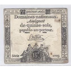 ASSIGNAT DE 15 SOLS - SERIE 1029 - 24/10/1792