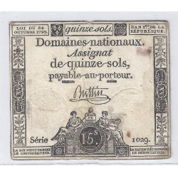 ASSIGNAT OF 15 SOLS - SERIE 1029 - 24/10/1792