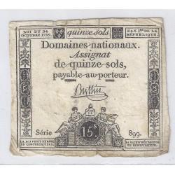ASSIGNAT DE 15 SOLS - SERIE 899 - 24/10/1792