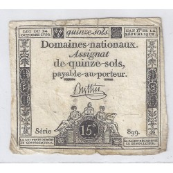 ASSIGNAT OF 15 SOLS - SERIE 899 - 24/10/1792
