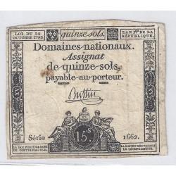 ASSIGNAT DE 15 SOLS - SERIE 1662 - 24/10/1792