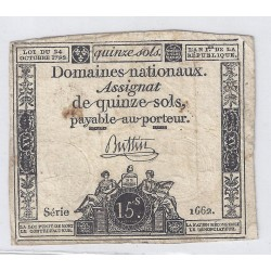 ASSIGNAT OF 15 SOLS - SERIE 1662 - 24/10/1792