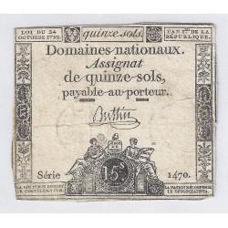 ASSIGNAT DE 15 SOLS - SERIE 1470 - 24/10/1792
