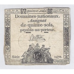 ASSIGNAT OF 15 SOLS - SERIE 1470 - 24/10/1792