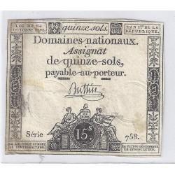 ASSIGNAT DE 15 SOLS - SERIE 758 - 24/10/1792